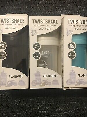 Twistshake Baby Bottles 0+ Months Anti-Colic 6 Ounces Size Small Quantity 1