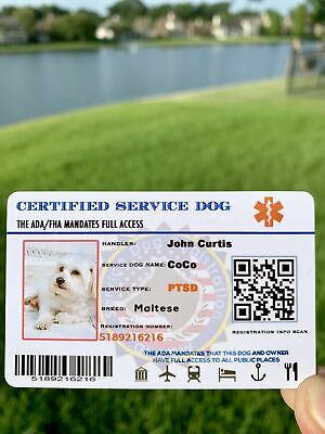 Service Dog ID Card Customized ESA ADA Assistance Animal Badge FullyCustomized