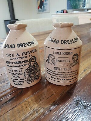 Vintage Pottery Stoneware Salad Dressing Jugs Two - Made in England
