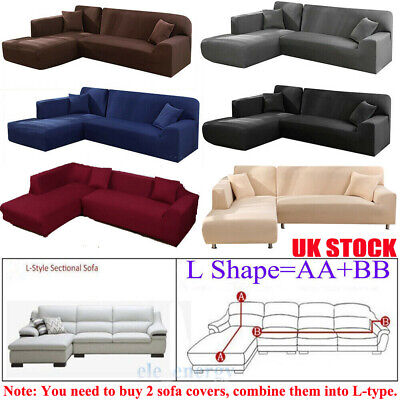 L Shape Elastic Couch Cover Stretch Fabric Sofa Cover Sectional Corner 3/4Seater