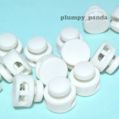 "White Buttom ( Hole = 1/8"") Round Cordlock Cord Locks Toggles Clasp Stopper Ends"