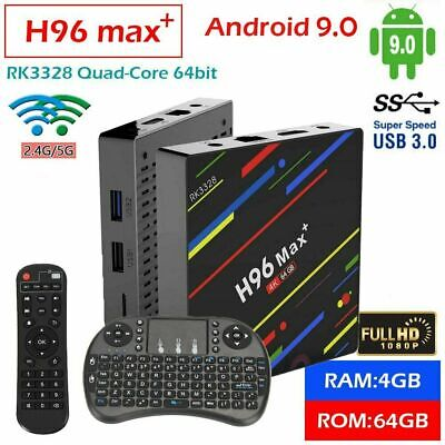 H96 MAX Plus+ 4GB+64GB Android 9.0 Smart TV Box 4K Quad Core 5G WiFi + Tastatur