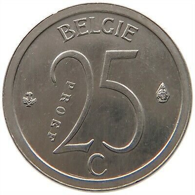 BELGIUM 25 CENTIMES 1964 ESSAI PATTERN NICKEL TOP RARE #t81 069