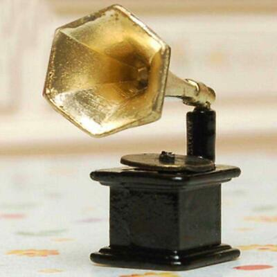 1:12 Vintage Metal Phonograph Player Dollhouse Furniture Decoration Accessory