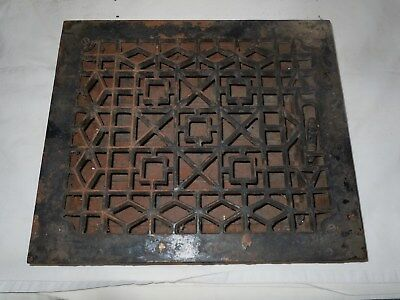 "Antique Cast Iron Victorian Heat Grate Floor/Wall Register 10X12"" Vtg Old"