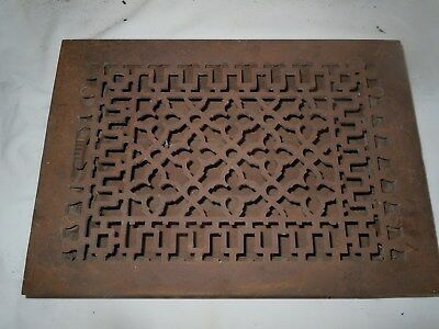 "Antique Cast Iron Victorian Heat Grate Floor/Wall Register 8X12"" Vtg Old"