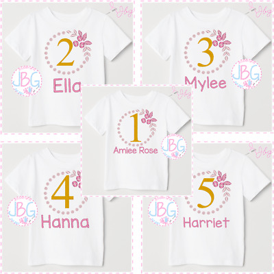 Personalised embroidered 1st Birthday Tshirt,Girls Bday Party Top Gift t-shirt