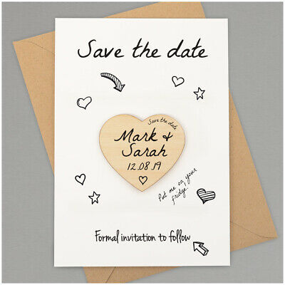 Save The Date Cards PERSONALISED Fridge Magnet Wedding Save the Date Hearts