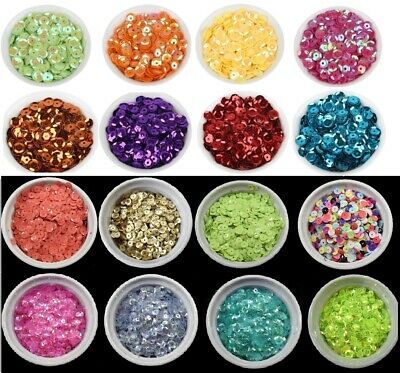 43 COLOURS - 6mm Cup Round Loose Sequins Cupped Sewing Pack of 300 BU1343