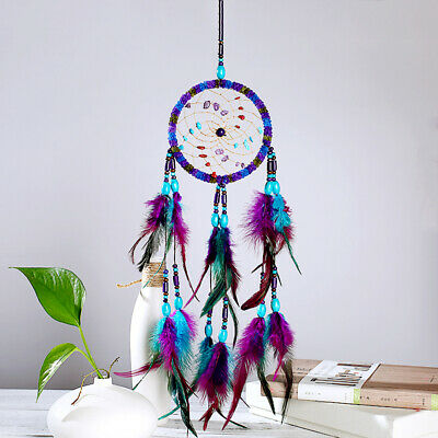 Rainbow Dream Catcher Feather Wall Hanging Home Party Decor Ornament Wicca Pagan