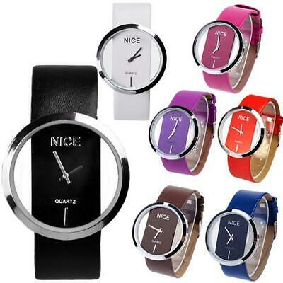 Fashion Cool Women Synthetic Leather Transparent Dial Lady Wrist Watch OK 01