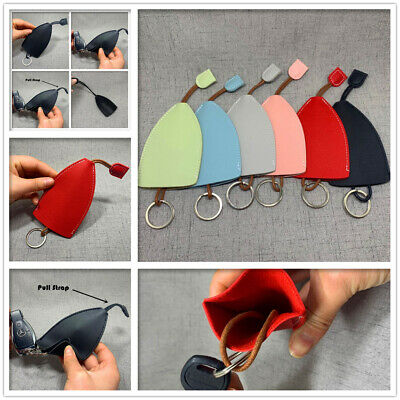 Leather Key Pouch with Pull Strap Case Holder Bag Ring Organizer House Car Keys
