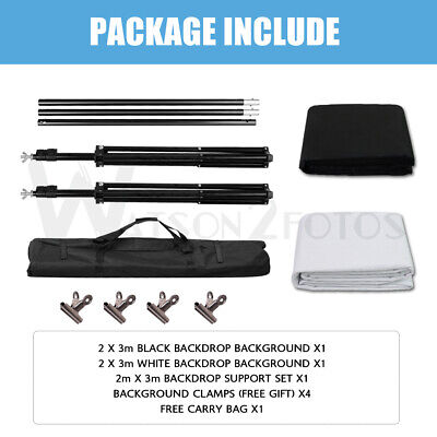 Pro 10Ft Adjustable Background Stand Kits For Photography With 3 Backdrop Colors