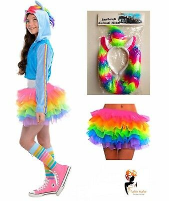 Kids RAINBOW MAGICAL UNICORN Girls Fancy Dress  Halloween Tutu Costume Skirt