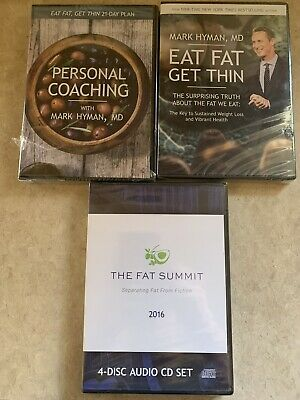 EAT FAT, GET THIN Dr. Mark Hyman Kit 2 Dvds  4 CDs 21-day Plan, Fat Summit, NEW