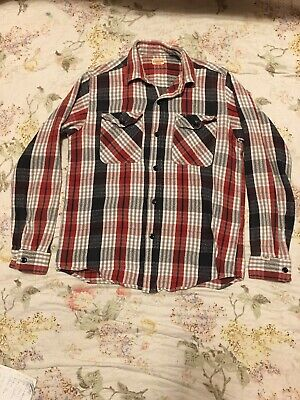 04c656bc Vintage Sugar Cane Workwear Shirt Mens sz M/S Checks Plaids Red,White,