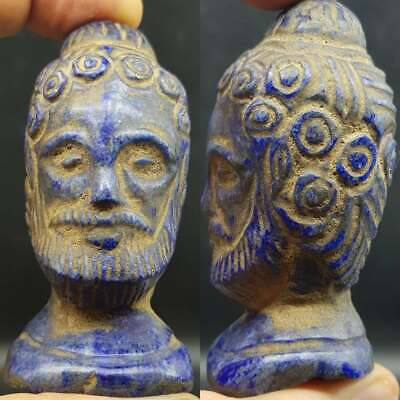 Antique Charming Old Wonderful King Face Lapis lazuli stone Face Head   #48