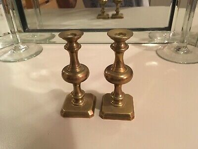 Antique 20th Century Brass Pair of Miniature Candlesticks w/ Square Footed Base