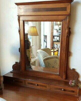 Dressing Table Toilet Mirror Antique Three Small Drawers Table Chest Top Vintage