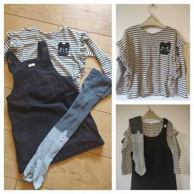 NEXT Girls Pinafore Dress Top & Tights 5-6 Cat Outfit Set Black Grey Excellent