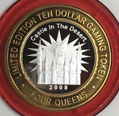 Four Queens Casino $10 Silver Strike Castle in the Desert Red .999 LTD 500