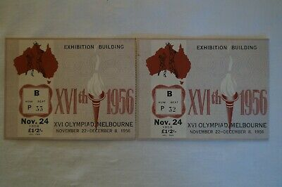 Olympic Games Collectable 1956 Melbourne Vintage Basketball Tickets x 2