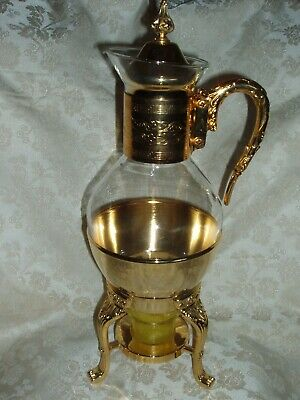 Vintage 4pc Goldtone Corning Glass Floral Coffee/Tea Carafe and Warmer Stand New