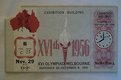 Olympic Games Collectable 1956 Melbourne Vintage Basketball Ticket with Stub