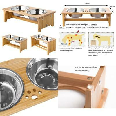Foreyy Raised Dog Bowls For Cats And Dogs - Bamboo Elevated Dog Cat Food And Wat