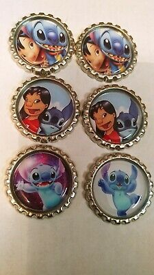Lilo and stitch hair bow centers lot of 6 scrapbook cabochon flat back craft bow