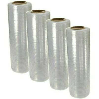 "4 Rolls BM 18"" x 1500' 80 Gauge Pallet Wrap Pre Stretch Film Hand Shrink Wrap"