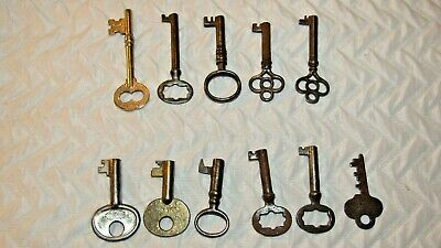 Lot of 11 Vintage Keys Barrel Skeleton Cabinet Etc.