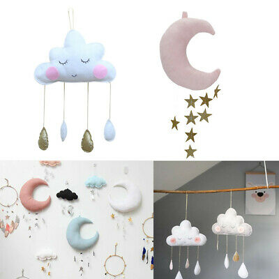 Cute Plush Moon Cloud Pillow Baby Kids Room Hanging Soft Decoration Bed Curtain