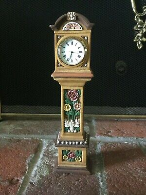 Gorgeous Floral Craved Mini Grandfather Clock 8 1/4 in  EUC Works Need Battery