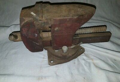 "Vintage Wards Master Quality Iron 3-1/4"" Bench Vise W/ Anvil Top"