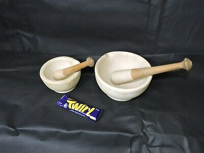 Lot of 2 Vintage Pestle and Mortar Chemist Apothercary
