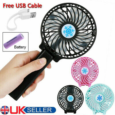 Portable Battery Operated Folding & Desk Fan Mini Hand Held Cooler with 3 Speeds