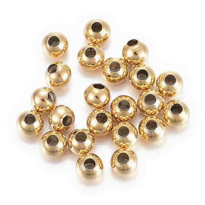 100pcs 304 Stainless Steel Metal Beads Smooth Gold Tone Loose Spacers Tiny 4mm