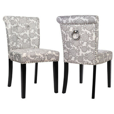 Floral Linen Fabric Pair Dining Chairs Studded with Roll Top Back Ring Knocker