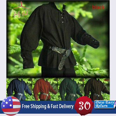 4a6430bc857076 Mens Cosplay Medieval Button Pirate Shirt Reenactment Landlord Knight Tops  Tees