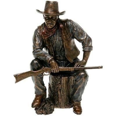 John Wayne Sitting On Log Bronze Statue Home Decorations Gifts