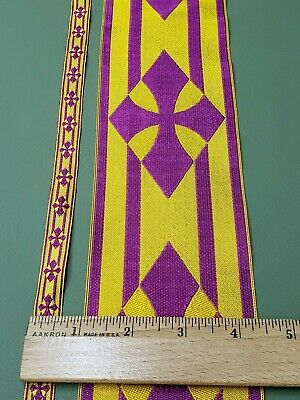 Vintage French Vestment Orphrey Banding Trimming Purple on Bright Gold Galloon