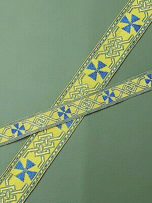Vintage Cross Vestment Galloon Trim Blue on Gold Rayon Trimming 5 Yrds