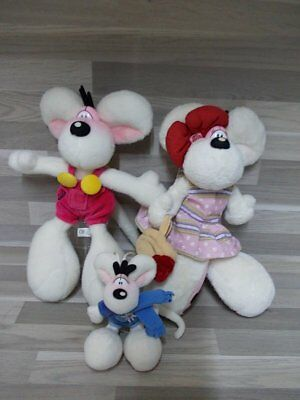 2 Large soft toys Diddl & Diddlina + 1 small diddl soft toy play child