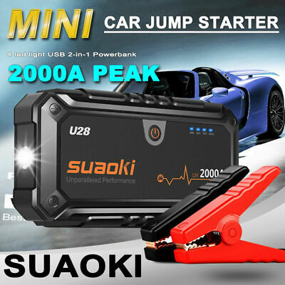 Suaoki 2000A Car Jump Starter Pack Emergency USB Power Bank Smart Battery Charge