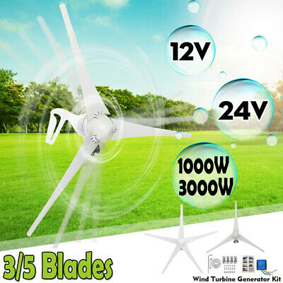 1/3000W Max Power 3/5 Blades 12/24V Wind Turbine Generator Kit+Charge Controller