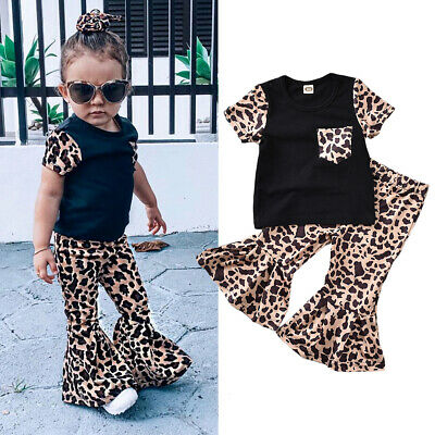 US Stock Kids Baby Girls Toddler Clothes T-shirt Top Leopard Print Pants Outfits