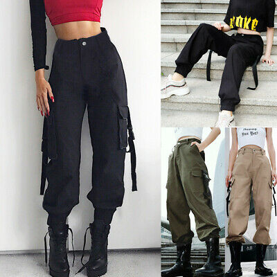AU Women High Waisted Cargo Trousers Pants Solid Punk Loose Casual Long Sports
