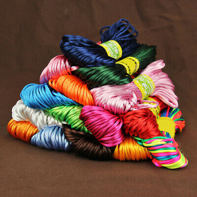 20 Meters 2mm Rattail Satin Cord Nylon Macrame Braiding String knitting Rope*