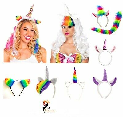 RAINBOW UNICORN HEADBAND Girls Kids Ladies Halloween Pony Dash Fancy Dress